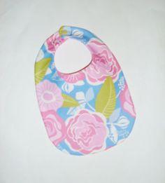 Baby Girl Bib - Pretty Pink Floral, $8 | Pasque Flower Creations | Locabal.com #baby #bib