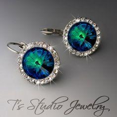 Peacock Blue Earrings Crystal Rhinestone - SONIA. $30.00, via Etsy.