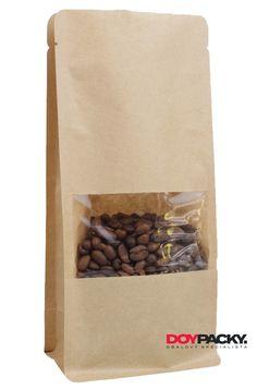 3-vrstvý boxpack sáček - exkluzivní sáček s plochým dnem. Materiál KRAFT/PET/CPP s okénkem a bez Zipu. Coffee, Drinks, Food, Products, Drinking, Beverages, Meal, Essen, Drink