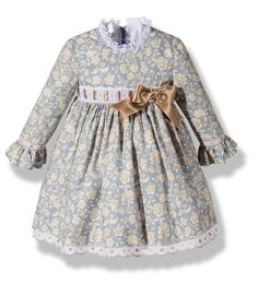 Precioso vestido para niña en color gris con un bonito estampado floral beige de moda infantil