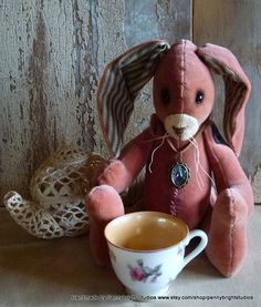 Vintage Velvet Rabbit: made from vintage velvet in a vintage style, soft sculpture, hand painted, fabric art doll animal (rabbit, bunny) by Pennybright Studios.