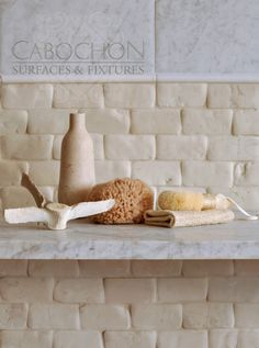 Cabochon Surfaces & Fixtures -OMG Hate subway tiles but REALLY....... this is stunning with the old texture on it