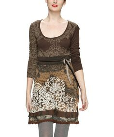 Take a look at this Brown Embroidered Lace-Trim Dress by Desigual on #zulily today!
