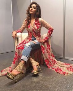 Indo Western Dresses, Gowns, Lehenga, Suits & Kurtis for Womens Indian Attire, Indian Wear, Indian Outfits, Kurti With Jeans, Look Short, Kurti Designs Party Wear, Salwar Designs, Dress Indian Style, Indian Designer Wear