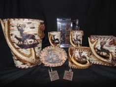 Deer Antler Pinecone Bathroom set