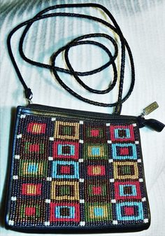 BRIGHTON Black Leather Purse Handbag Braided Strap Elegantly Beaded Patterns #Brighton #ShoulderBag