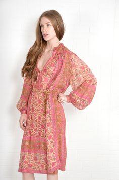 silk ethnic caftan dress - circa 1970s by Ritu Kumar for Judith Ann - Thriftwares