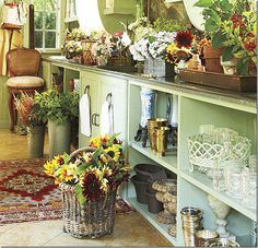 Charlotte Moss' flower room in her weekend home! I would give about anything to have a flower room like this in my home. via cote de Texas