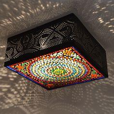plafonnière filigrain met glasmozaïek 30 cm - multi colour