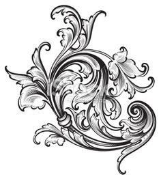 Flourish Arabesque Scrollwork Royalty Free Stock Vector Art Illustration