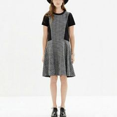 Madewell textured tribune dress in great and black Perfect for work and cocktail hour. Black and grey cotton and knit dress with simple a line look. Very breathable and looks great with tights and boots or heels for going out Madewell Dresses Midi