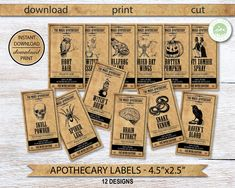 Halloween Apothecary Labels, Halloween Bottle Labels, Potion Labels, Jar Labels, Halloween Night, Halloween Party, Snowflake Invitations, Witch Party, Happy Birthday Banners