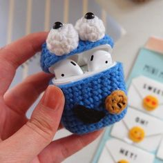 Handmade Cute Cartoon Protective Knitted Case Skin Sweater Cover Silicone Headset Box Knitting Wool Earphone Cover For AirPods Knitting Wool, Sweater Knitting Patterns, Crochet Patterns, Crochet Case, Box Patterns, Cute Stuffed Animals, Crochet Handbags, Cute Cartoon, Elsa