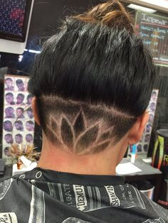Intensive Cuts - Long Beach, CA, United States. Under nape cut lotus flower. Cut by E.T.