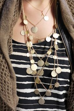 Statement layered necklace in gold