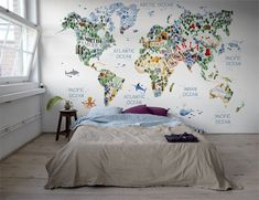 Playful wallpaper with a colourful world map. The wallpaper pattern is full of details and lovely animals that is perfect for the children's room! It really is the cutest world map we have ever seen! World Map Mural, World Map Wallpaper, Design Your Own Wallpaper, Boys Bedroom Colors, Wallpaper Manufacturers, Cool Kids Rooms, High Quality Wallpapers, Pattern Wallpaper, New Homes
