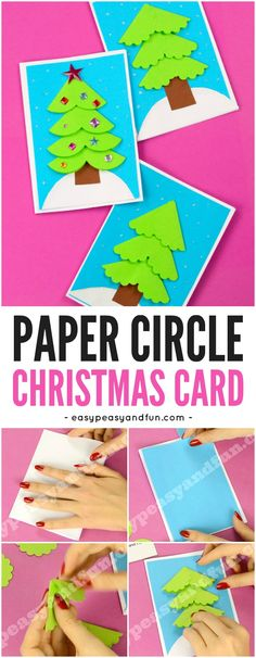 Paper Circle Homemade Christmas Card. Super fun Christmas paper craft idea for kids.