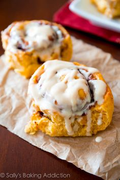 Soft, Gooey Pumpkin Cinnamon Rolls with Maple Cream Cheese Glaze.  sallysbakingaddiction.com