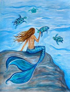 "Mermaid Art Print Giclee Wall Art Mermaids Sea Turtles Art Print Turtles Fantasy Art  ""Sea Turtle Friends"" Leslie Allen Fine Art"