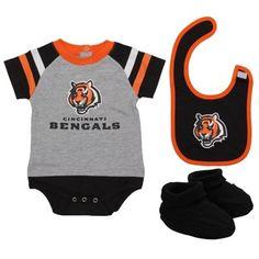 Cincinnati Bengals Newborn Littler Player Creeper, Booties & Bib Set - Gray