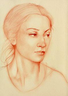 "Saatchi Online Artist: Franco Fusari; Conté, 2010, Drawing ""Susanna"""
