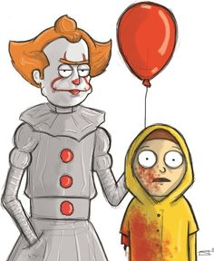 Rick and Morty x Pennywise Rick And Morty Poster, Rick Y Morty, Ricky And Morty, Beetlejuice, Cultura Pop, Geek Culture, Doodle Art, Nerdy, Anime