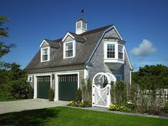 New England Charm - garage with picket fence, sweet gate, dormers, cupola and wind vane, and lovely upstairs bay!