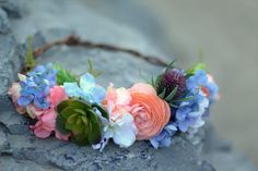 Check out this item in my Etsy shop https://www.etsy.com/listing/386639452/blue-and-blush-floral-crown