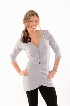 7d021cf556870 sexy wrap tunic compliments every figure pair with leggings for style and  comfort our bamboo jersey is lycra it has wonderful drape an