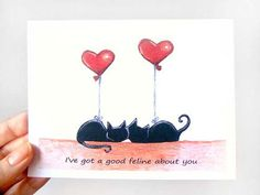 Funny Card, Black Cat Greeting Card, Anniversary Card, Valentine's Day, I Love You on Etsy, $3.65