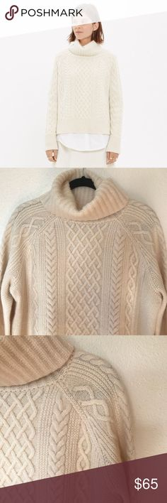 Madewell Cream Cable Stitch Turtleneck sweater With its elaborate cable-stitch front, oversized funnelneck and dramatic, long-in-back hem, this design-team favorite is loaded with attitude (while still being oh-so-easy to wear).    True to size. Size Large. Wool/nylon/alpaca. Dry clean. Item B0726 New with tags Madewell Sweaters Cowl & Turtlenecks