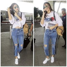 """""""Anushka Sharma snapped looking chic in casuals at the Airport Stylish Outfits, Cool Outfits, Fashion Outfits, Lengha Blouse Designs, Bollywood Fashion, Bollywood Actors, Anushka Sharma, Casual Chic Style, Western Outfits"""