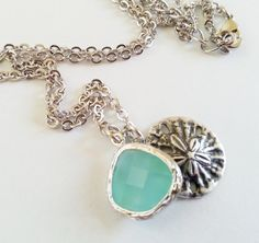 Sand Dollar Necklace with accent stone mother's day wife by CMDetc, $28.00