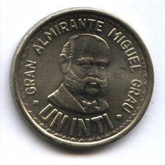 Un Inti de Perú. El Inti fue la moneda de circulación legal del Perú desde el 1 de febrero de 1985; cuando reemplazó al Sol de Oro; hasta 1991 cuando fue reemplazado por el Nuevo Sol.