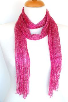 Silvery Pink Scarf / Shawl  With Fringed by mediterraneanlights, $15.90