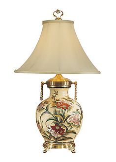 Nice Item RED FLOWERS LAMP Gorgeous Hand Painted Kutani Crackleware Porcelain  Signature Collection Table Lamp   Keiichi Miyamoto With A Fabric Bell Shade.