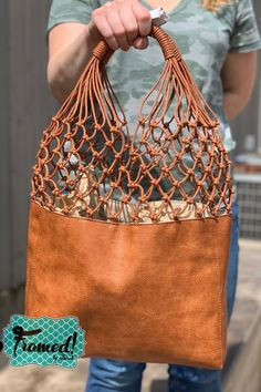 Beautifully Soft Leather Lattice Tote - Framed by Sarah Accessories, Custom Tee, Gifts and More - Women's fashion interests Boho Summer Outfits, Women's Summer Fashion, Soft Leather, Leather Totes, Diy Leather Tote Bag, Leather Tote Handbags, Leather Purses, Leather Bag Pattern, Micro Macramé