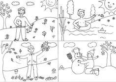 Nyomtatható mindenféle, színezők, évszakok tanulása, seasons Weather For Kids, Preschool Weather, Coloring For Kids, Coloring Books, Coloring Pages, Drawing For Kids, Art For Kids, Weather Seasons, Art Activities For Kids