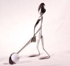 Golfer Spoon Art Spoon and Fork Art Sculptures