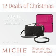 Miche 12 Deals of Christmas   Black Quilted Convertible Wallet  Regular $39.99  Sale $12.00  #miche #12dealsofchristmas #wallet