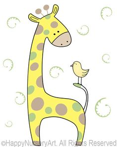 Green nursery art, giraffe baby art, children room decor, kids wall hanging, bird, girls or boys unisex art. $14.00, via Etsy.