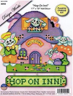 Hop ON INN: Plastic Canvas door or wall hanging decor.page 1 of 4 shows how it will look when finished.