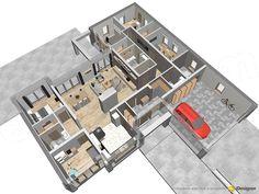 Projekt domu Madera 164,9 m2 - koszt budowy - EXTRADOM Beautiful House Plans, Beautiful Homes, Dream Home Design, Modern House Design, Model House Plan, Bedroom House Plans, Home Projects, Floor Plans, How To Plan