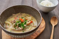 A quick, delicious Japanese pork and miso soup, Tonjiru (豚汁) comes together in under 30 minutes and is hearty enough to serve as an entree.