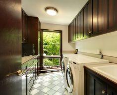 ** Rich Dark Wood Laundry Room