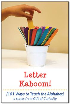 Letter Kaboom! is a fun, DIY alphabet game that helps kids learn their letters || Gift of Curiosity