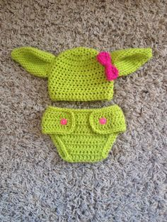 Crochet Baby Yoda outfit Hat with Diaper Cover