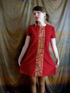 KLIMT one of a kind handmade velveteen + african wax print cotton pieced panel mini dress