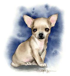 CHIHUAHUA cachorro perro lámina firmada por por k9artgallery