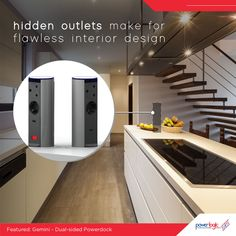 Hidden power outlets make for flawless interior design If you love the idea of your outlets being out-of-sight when you do not need them, and readily available when you do, pop-up outlets are a great option for you. Have your interior designer install pop-up devices like the Gemini pop-up outlet.